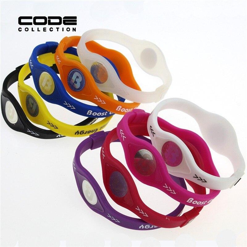 2pcs/set Charm Designer Power Energy Bracelet Bangles For Women Men Sport Wristbands Balance Ion Magnetic Therapy Silicone 4