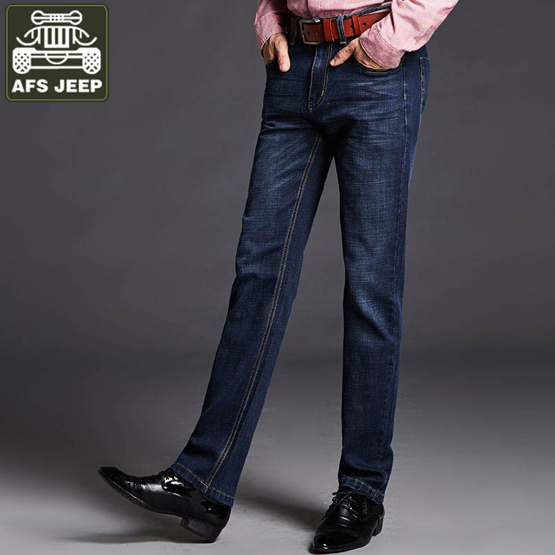 AFS JEEP 2017 Men's Jeans Straight Casual Stretch Jeans Men Pockets Soft Slim Fit Male Denim Pant Balmai Jeans Men Denim Overall afs jeep autumn jeans mens straight denim trousers loose plus size 42 cowboy jeans male man clothing men casual botton