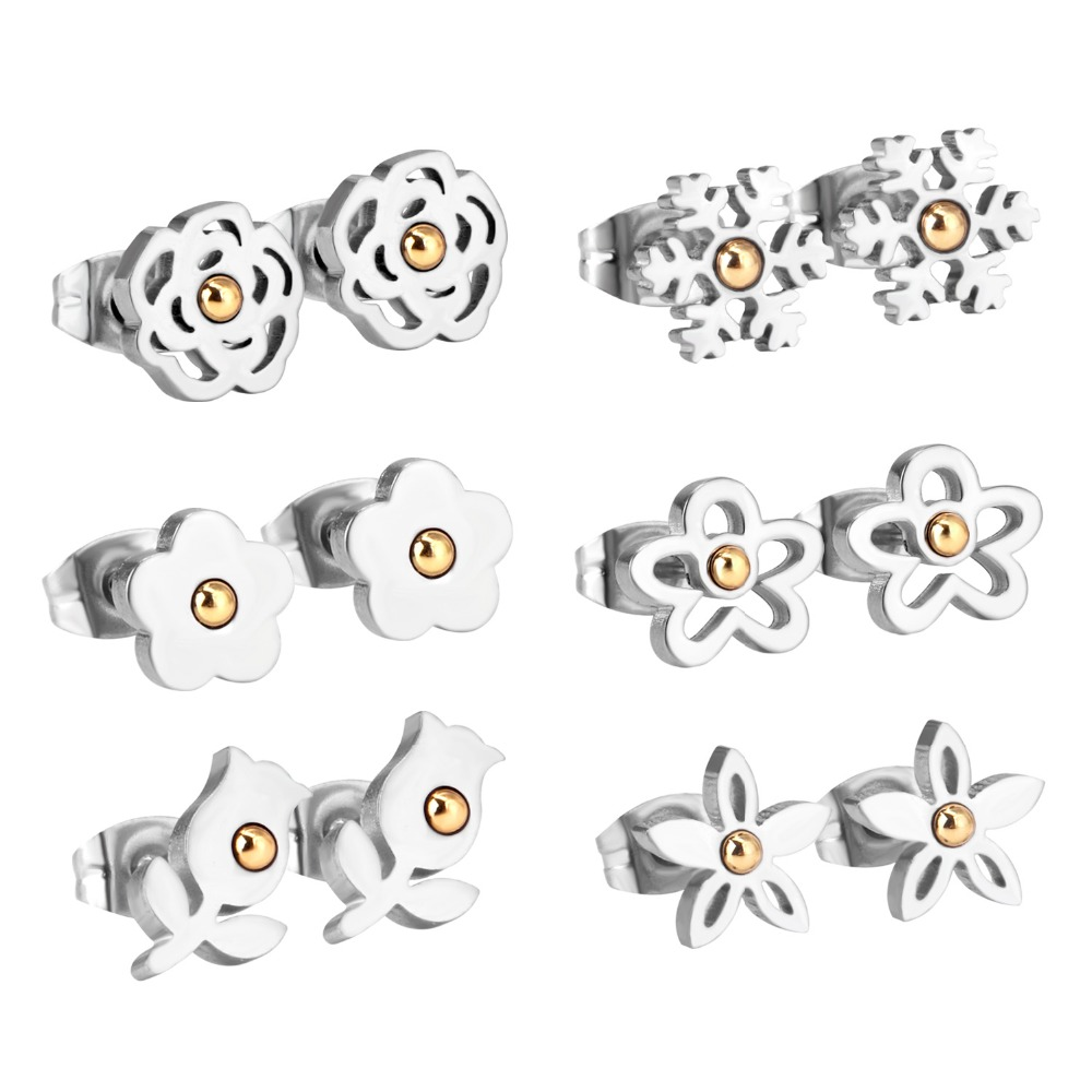 LUXUKISSKIDS 6Pairs/Box Stainless Steel Stud Earrings For Women Mix Shape Fashion Jewelry Christmas Small Earings pendientes