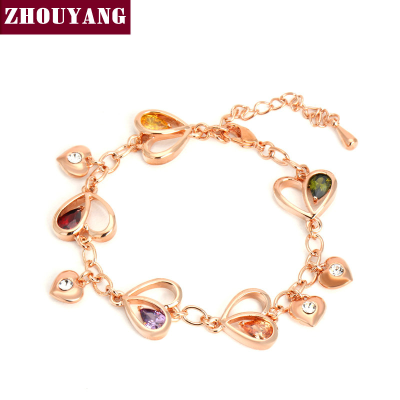 ZHOUYANG Top Quality ZYH015 Heart Rose Gold Plated font b Bracelet b font JewelryGenuine Austrian Crystal