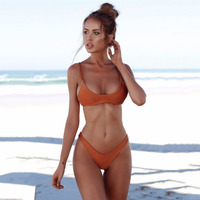 Sexy Women Solid Color Swimwears Bra Brief Sets 2017 Summer Sexy Backless Beach Wear Sets For