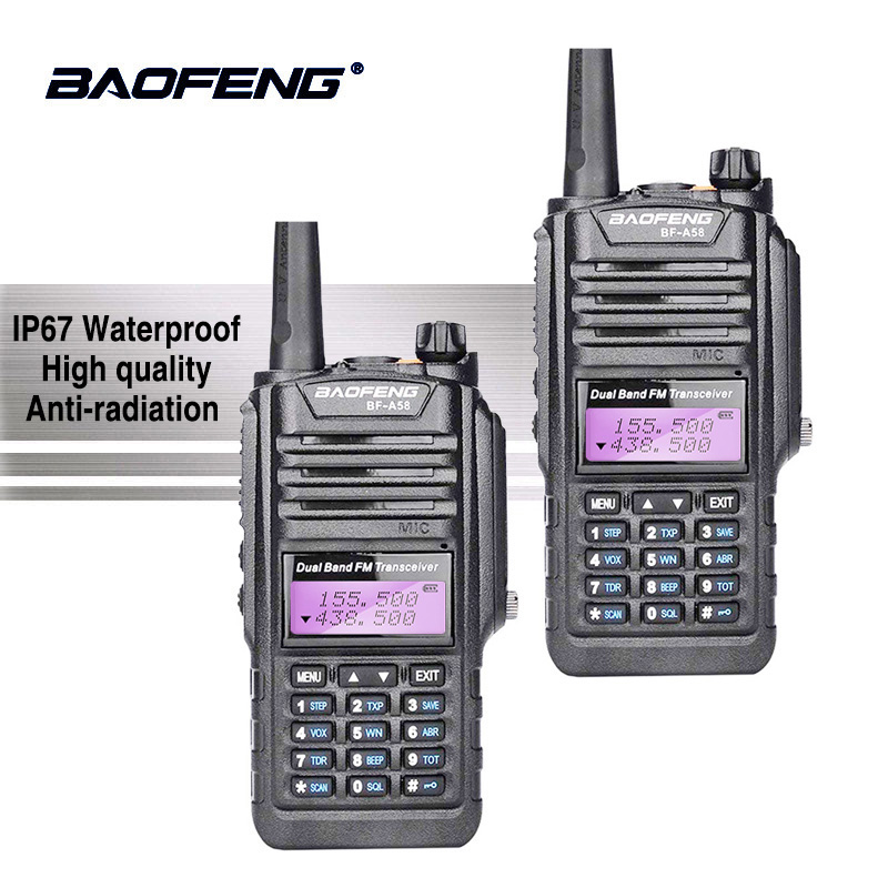 2 pcs Baofeng BF-A58 IP67 Étanche Talkie Walkie UHF VHF Radio A58 Two Way Radio Baofeng UV-9R Jambon Radio Comunicador CB Radio