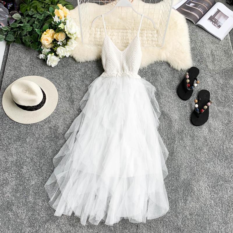 Image 4 - FTLZZ New Women Tulle Dress Summer High Waist Mesh Dress Hem Asymmetrical Pleated Dress Female Slim Fairy DressesDresses   -