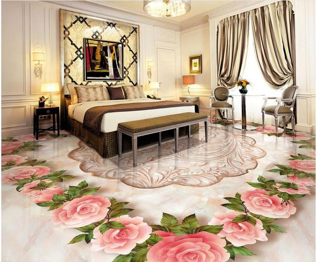 Hd europese opluchting d vloeren behang custom vinyl vloeren rose