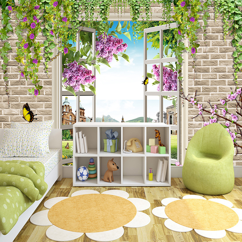 Pastoral Style 3D Stereo Rose Window Backdrop Wall Photo Mural Wallpaper Living Room Bedroom Theme Hotel Warm Decor Papel Mural