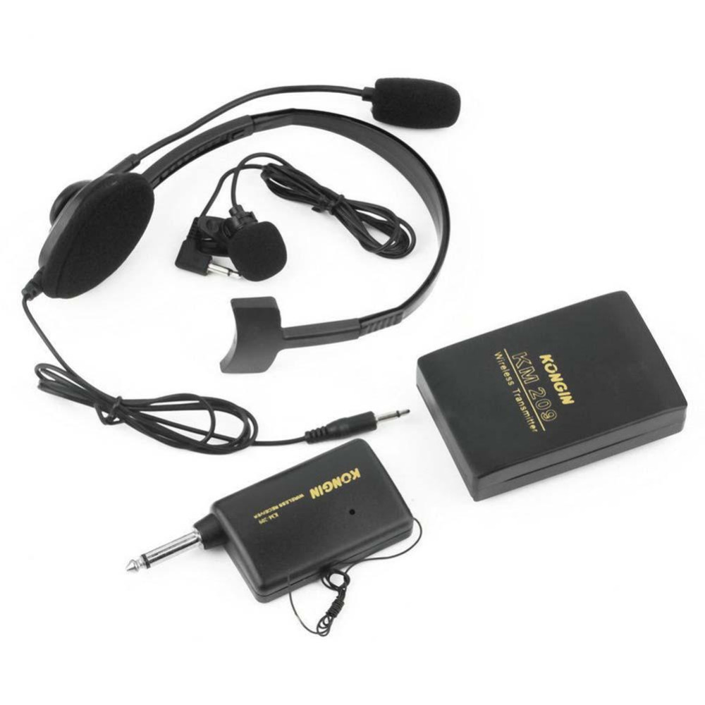 Hot New 1pcs Portable VHF Stage Wireless Lavalier Lapel Headset Microphone System Tie & Head Mic FM Transmitter