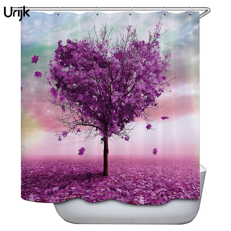 Urijk 1PC Valentines Day Home Shower Curtains Bathroom Curtain Heart Tree Print Waterproof Bath Cortina with Hooks 180*180cm