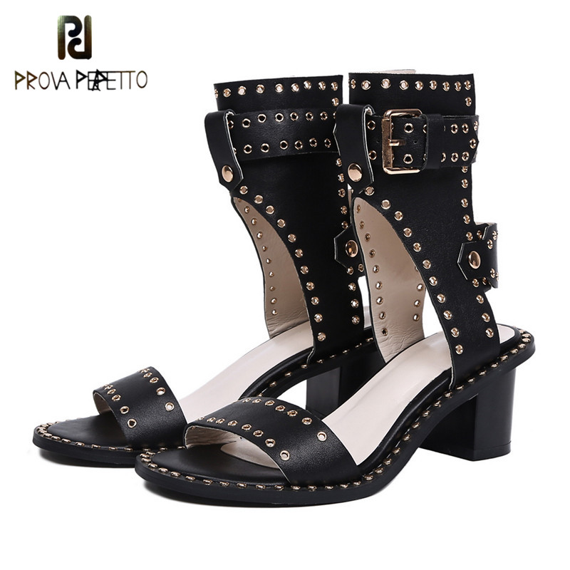 Prova Perfetto New Style Rivet Gladiators Sandals Women Real Leather Buckle Mid Heel Sandals Summer Peep Toe Ankle Boots Sandals white black rivets women high heel sandals peep toe hollow out summer sandals real picture newest ankle buckle short boots