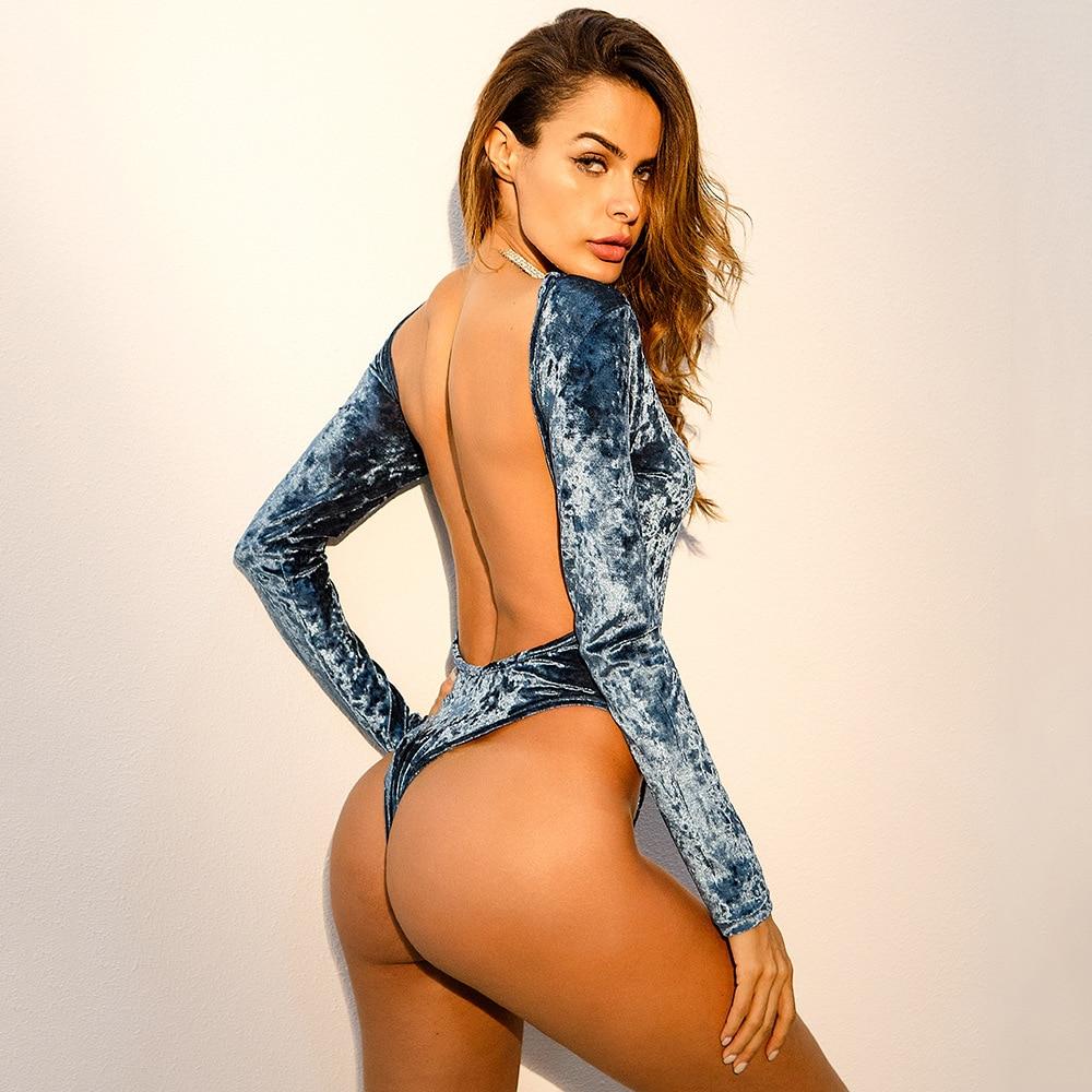 07c387b8c1 Backless Velvet Bodysuit Elegant Long Sleeve Sexy Bodysuit Rompers Womens  Jumpsuit Vintage Party Bodysuit Body Mujer 2018 Blue-in Bodysuits from  Women s ...