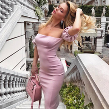 Adyce 2020 New Summer Pink Bandage Dress Women Vestidos Slash Neck Off Shoulder Midi Bodycon Club Celebrity Evening Party Dress