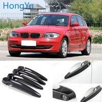 For BMW Carbon Fiber Auto Door Handle Knob Exterior Trim Covers for BMW 1 series E82 E87 F20 2007 2019 Sticker