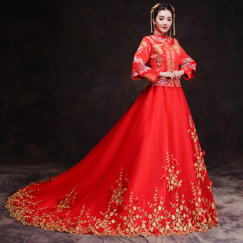 RED Spring Autumn Especial Fashion Chinese bride wedding gown dress Golden cheongsam Suzhou embroidery female golden