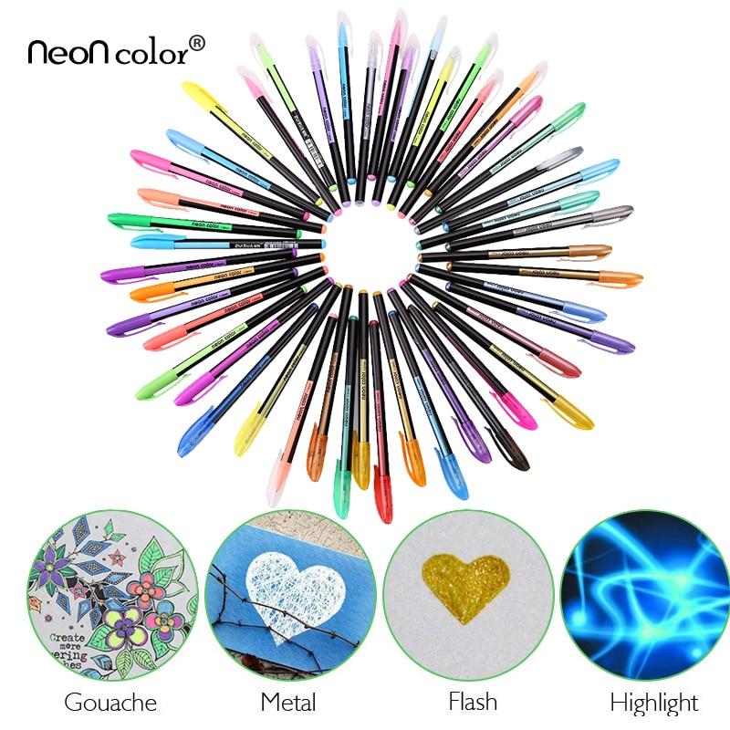 Art stationery 12/48 Color Gel Pens Set Refills Pastel Neon Glitter Sketch Drawing Color Pen Set School Marker refills for preventa mmf kable and sentry counter pens 2 pack [set of 3]