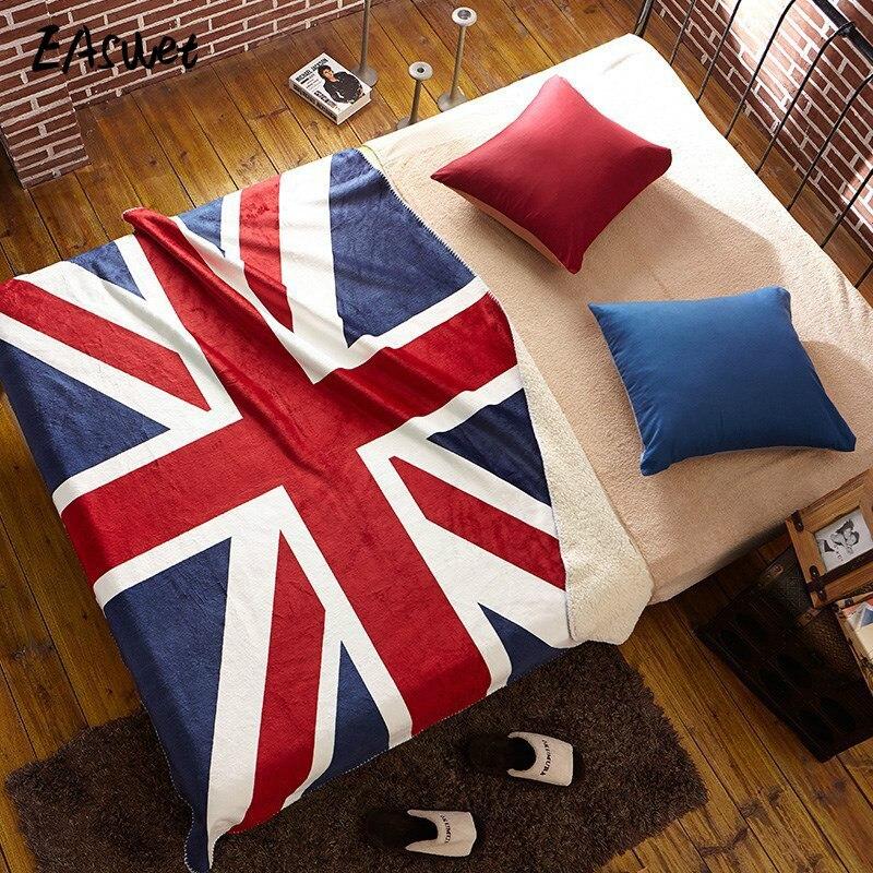 2017 UK US Flag Super Soft Brand Sofa TV Travel Blanket Lamb Fleece Blanket Plush Throw Blanket for Sofa 130x160cm