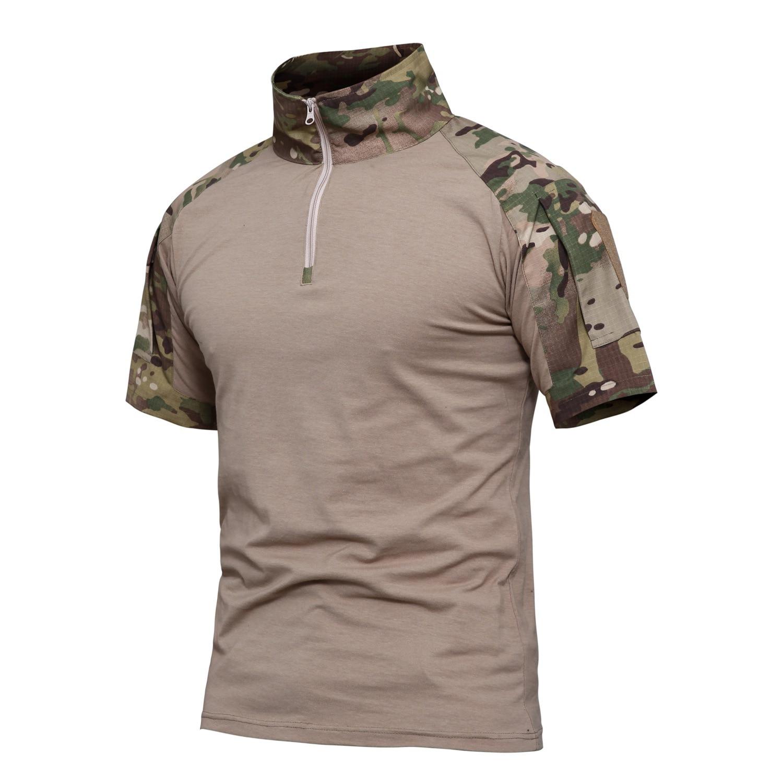 2019 Caccia Strato Di Base Degli Uomini Di Verde Dell'esercito Tattici Estate T Camicette Esercito Militare Trekking Caccia Pesca Combattimento Shirt Top