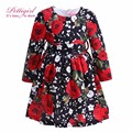 Pettigirl Fashion Long Sleeve Red White Flower Print Little Girl Dresses Autumn Retail Kids Frock Designs GD80810-65F