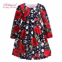 Pettigirl New Design Autumn Girls Flower Dress Long Sleeve With Rose Printed Dresses For Kids Retail
