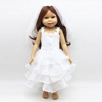 Для 18 дюймов American Girl Doll белое свадебное платье подходит 18