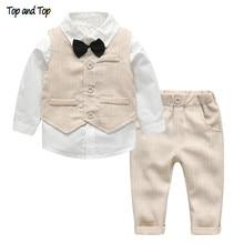 Top and Top Fashion Autumn Infant Clothing Set Kids Baby Boy Suit Gentleman Wedding Formal Vest Tie Shirt Pant 4Pcs Clothes Sets