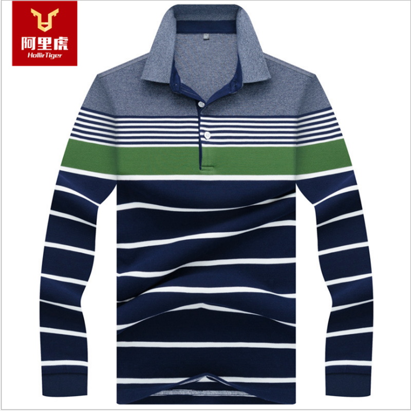 Hollirtiger Europe Size New Men's Strips Long Sleeve   Polo   Shirt Autumn Full Sleeve Cotton Casual Printing Tops