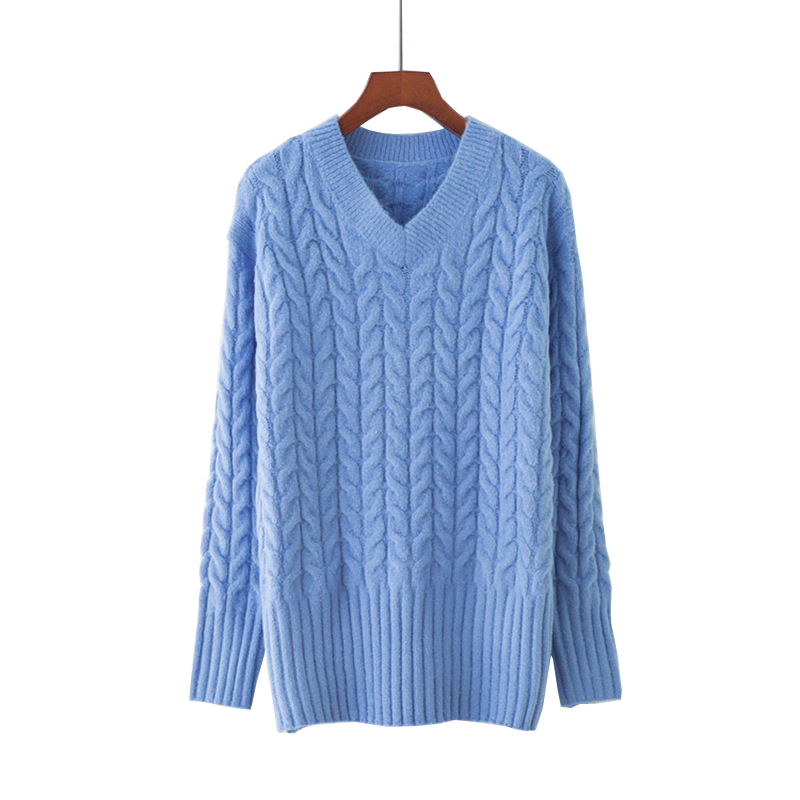 2018 Women Mohair Sweater V-Neck Knitted Long Sleeve Autumn Women Sweater And Pullovers Pull Femme Women Christmas Sweater