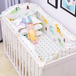 6 uds Animal Print 100% algodón bebé cama parachoques estrellas cama alrededor de dibujos animados extraíble niños y niñas Unisex ropa de cama para bebé conjuntos
