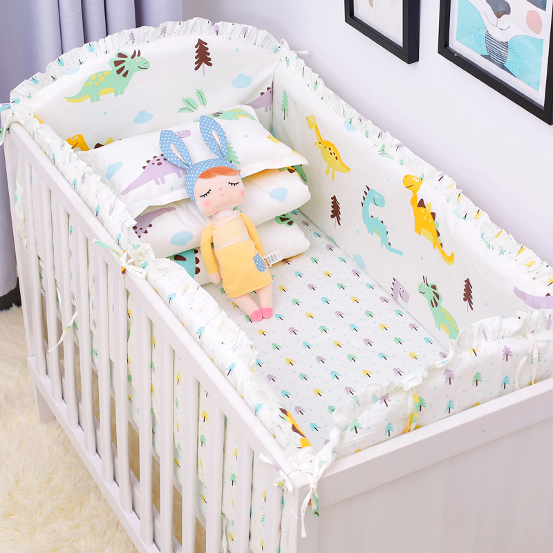 6pcs Animal Print 100%Cotton Baby Bed Crib Bumpers Stars Bed Around Cartoon Removable Boys and Girls Unisex Baby Beding sets image