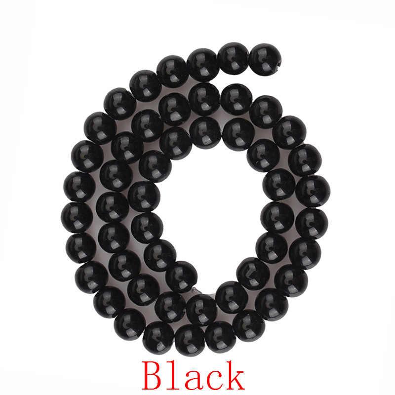 15 צבעים חלק זכוכית קריסטל עגול חרוזים שחור ירוק גרנט אדום נקי זכוכית עבור צמיד שרשרת תכשיטי ביצוע 4 6 8 10 12 MM