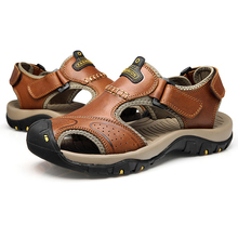 Viihahn Mens Sandals Genuine Leather Summer 2018 New Beach Men Casual Shoes Outdoor Sandals Plus Size 38-46