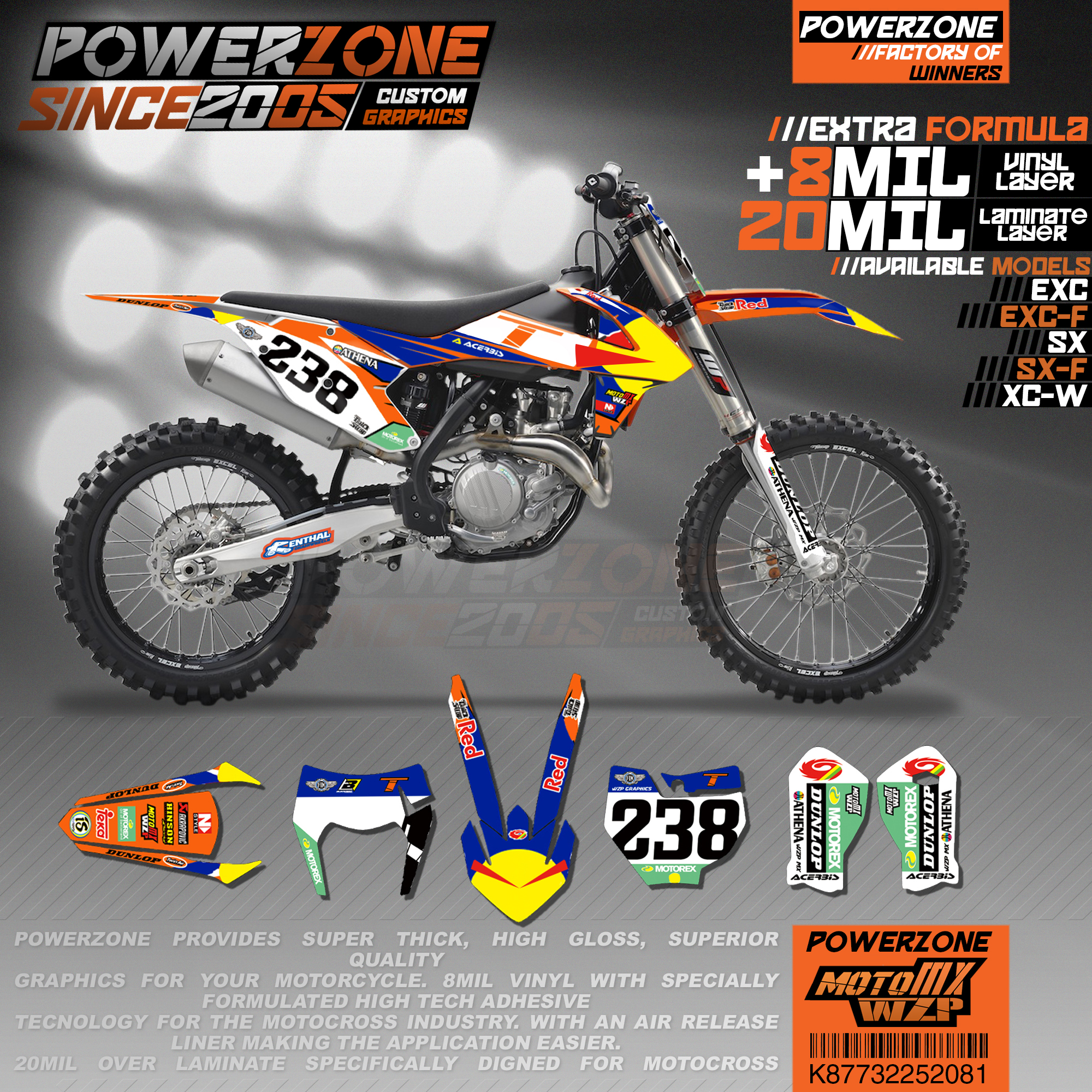 PowerZone Custom Team Graphics Backgrounds Decals 3M Stickers Kit For KTM SX SXF MX EXC XCW