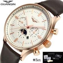 Guanqin мужские часы лучший бренд класса люкс GUANQIN Новый мужская Мода Луна пга Кварцевые Часы Мужской Наручные Часы guanqin relogio masculino