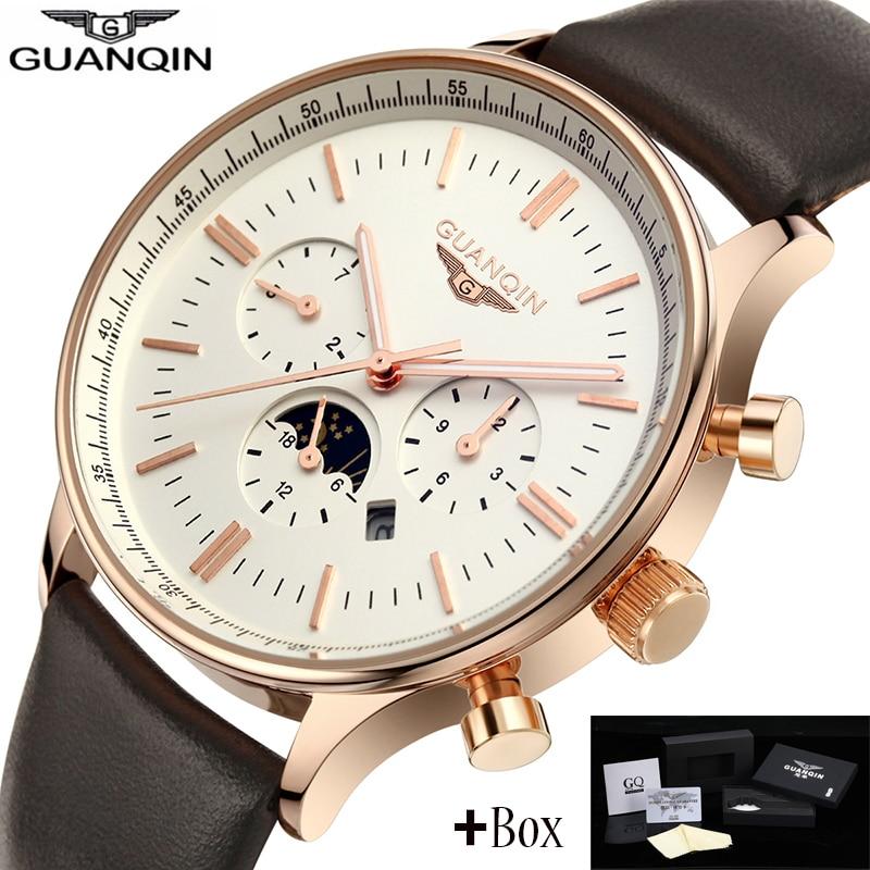 Prix pour Guanqin hommes montres top marque de luxe GUANQIN Nouveau Mode Hommes de Lune les pvvih Quartz Montre Homme Montre-Bracelet guanqin relogio masculino