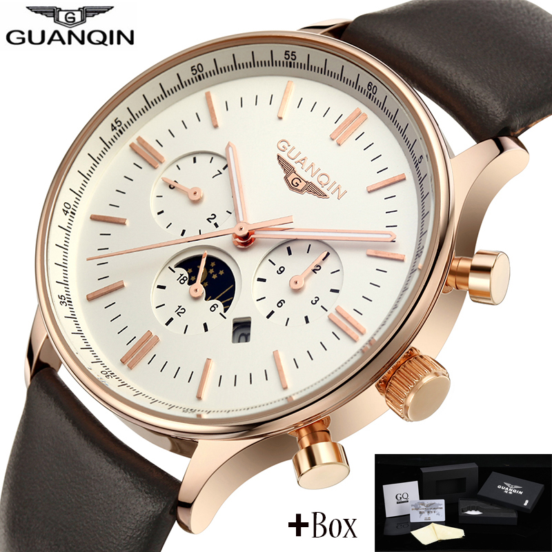 ФОТО Guanqin mens watches top brand luxury GUANQIN New Fashion Men's Moon phas Quartz Watch Male Wristwatch guanqin relogio masculino