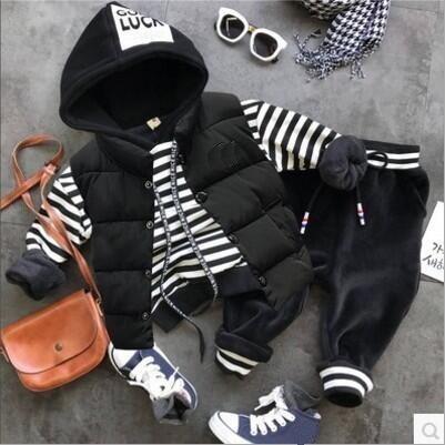 2018 Autumn winter Baby Clothing Sets Boys Clothes Sets boys Thick vest + Plus hoodie + Plush pants 3Pcs/Sets Child Clothing set