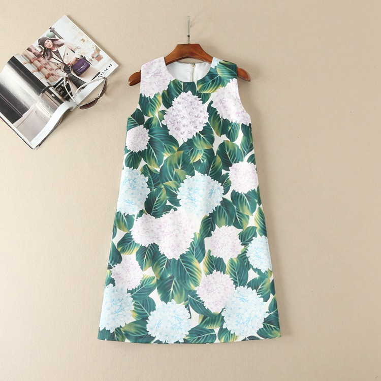 Buy Cheap Cute floral sequined appliques women sleeveless shift dress patterns print casual dresses new 2017 spring summer runway green