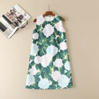 Save 11.1 on Cute floral sequined appliques women sleeveless shift dress patterns print casual dresses new 2017 spring summer runway green