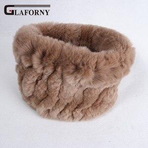 Image 5 - Glaforny 2019 Knitted Rabbit Fur Scarf Ring 100% Real Rex Rabbit Hairbands Women Winter Fashion Fur Neckerwear 35 Colors