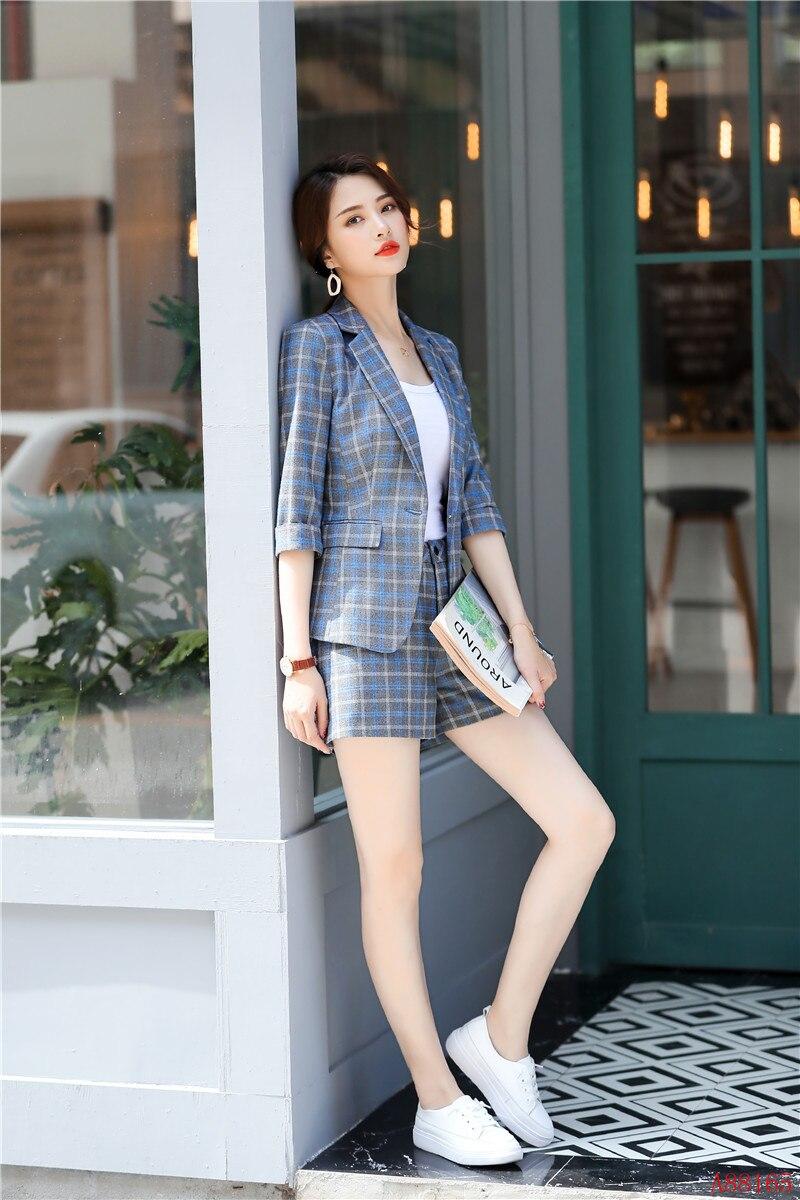 Bureau Veste Costumes Dames Blazer Et Plaid De Vêtements Uniforme Styles Femmes D'affaires Travail Mode Ensembles Bleu zUSnOxO