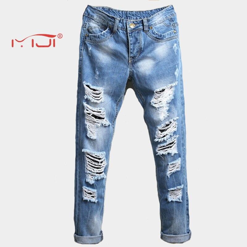 High Quality Hole mens jeans Solid Color Long Trousers Men Denim Jeans Pants Men s Vintage Stretch Trousers Casual Pants