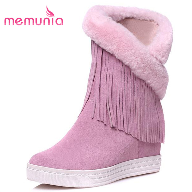 ФОТО MEMUNIA Cow split + genuine leather boots women flat shoes tassel ankle boots autumn winter fashion boots height increasing