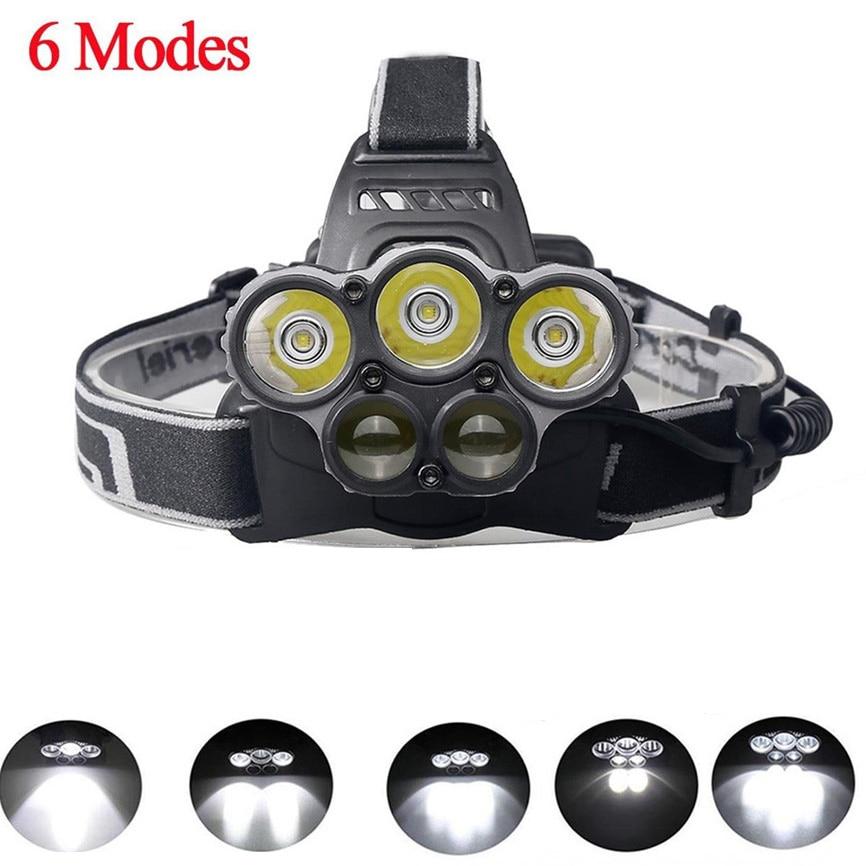 Power 50000LM 5-Head XM-L T6 LED 18650 USB Rechargeable Headlamp Headlight