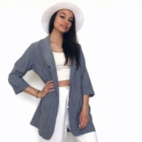 Classic Striped Women Jacket Blazer Notched Collar Female Long Slim Suits Coat Korean Fashion 2019 Spring Office Lady Blazer