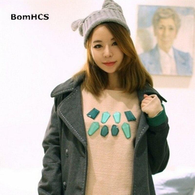 BomHCS Womens Thick Cable Braided Gilr Winter Warm Beanie Devil Horns Cat Ear Crochet Knit Cap Hat