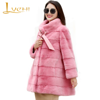 LVCHI Winter 2019 Natural Real Mink Fur Coat Women's Copenhagen imports Mink Coat Bow tie Pink Loss Draped Medium Mink Coats