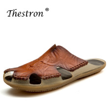Walking Sandals Spring Thestron Mens Casual Comfortable Sandal Leather Men Black Shoes 2018