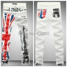 Men's Union Jack Flag Eiffel Tower Print Skinny Jean Pant Fashion Casual Straight Pencil Pant, Night Club 2016 New Brand Jeans