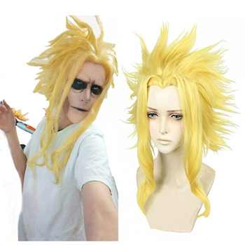 Anilnc My Hero Academia Boku no Hiro Akademia All Might Short Golden Synthetic Heat Resistant Cosplay Hair Wig+One Cap - DISCOUNT ITEM  40% OFF All Category