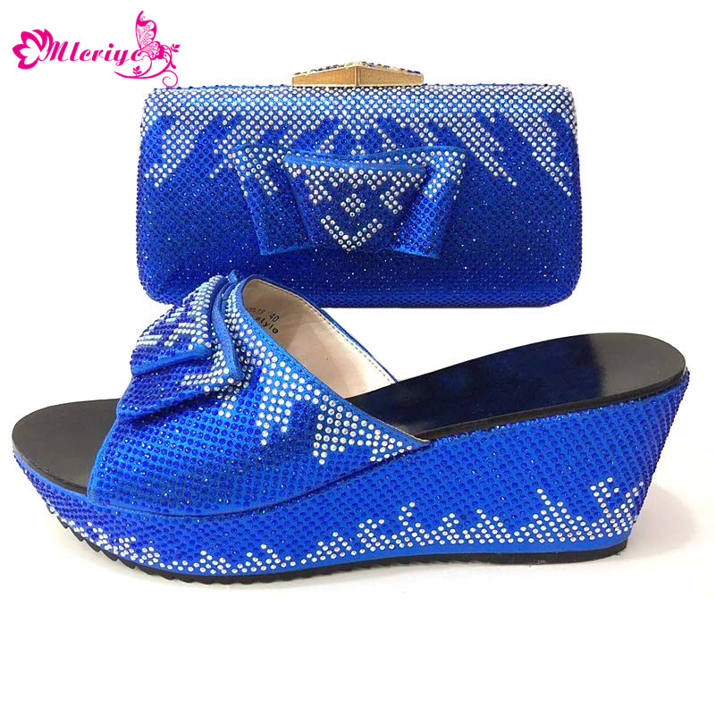 New Arrival blue Color Shoes and Bag Set Italian Shoes with Matching Bag Nigerian Shoe and Matching Bag Women Shoe and Bag Set цена