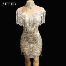 Дизайн; Сетчатое платье с прозрачной бахромой; платье для дня рождения; праздничное платье без рукавов с кисточками; YOUDU