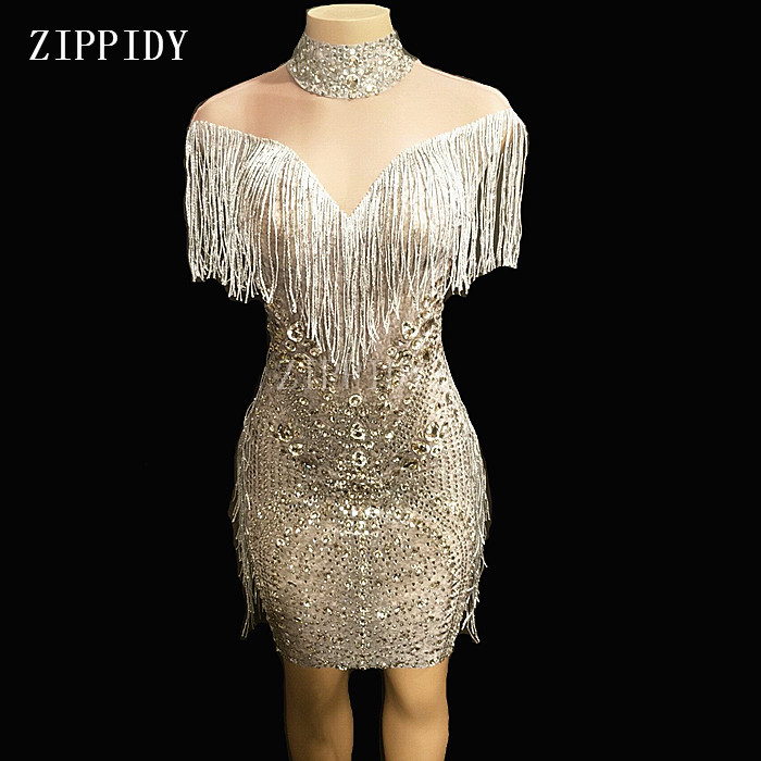 New Design Mesh See Through Fringes Dress Birthday Celebrate Perspective Dress Evening Party Sleeveless Tassel Dresses YOUDU